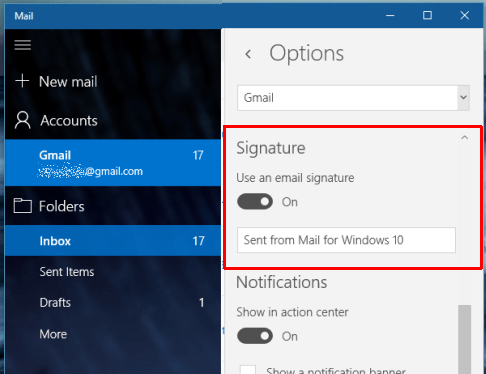 "Gỡ bỏ dòng ""Sent From Mail For Windows 10"" trong ứng dụng Mail"