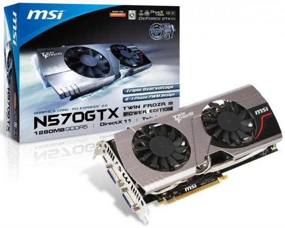 GeForce GTX570 với tản nhiệt Twin Frozr III của MSI
